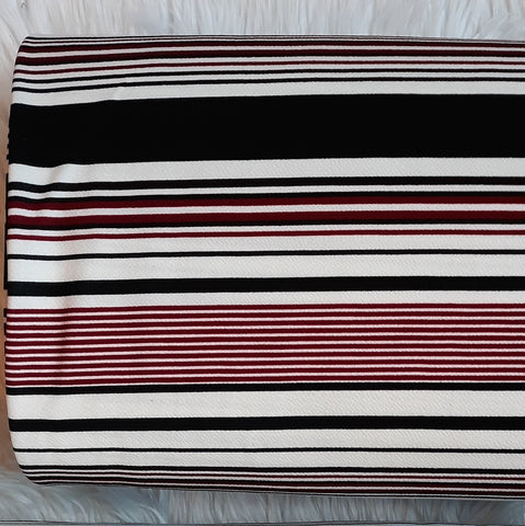 Burgundy & Black Multi-Stripe Liverpool Knit|By the Half Yard