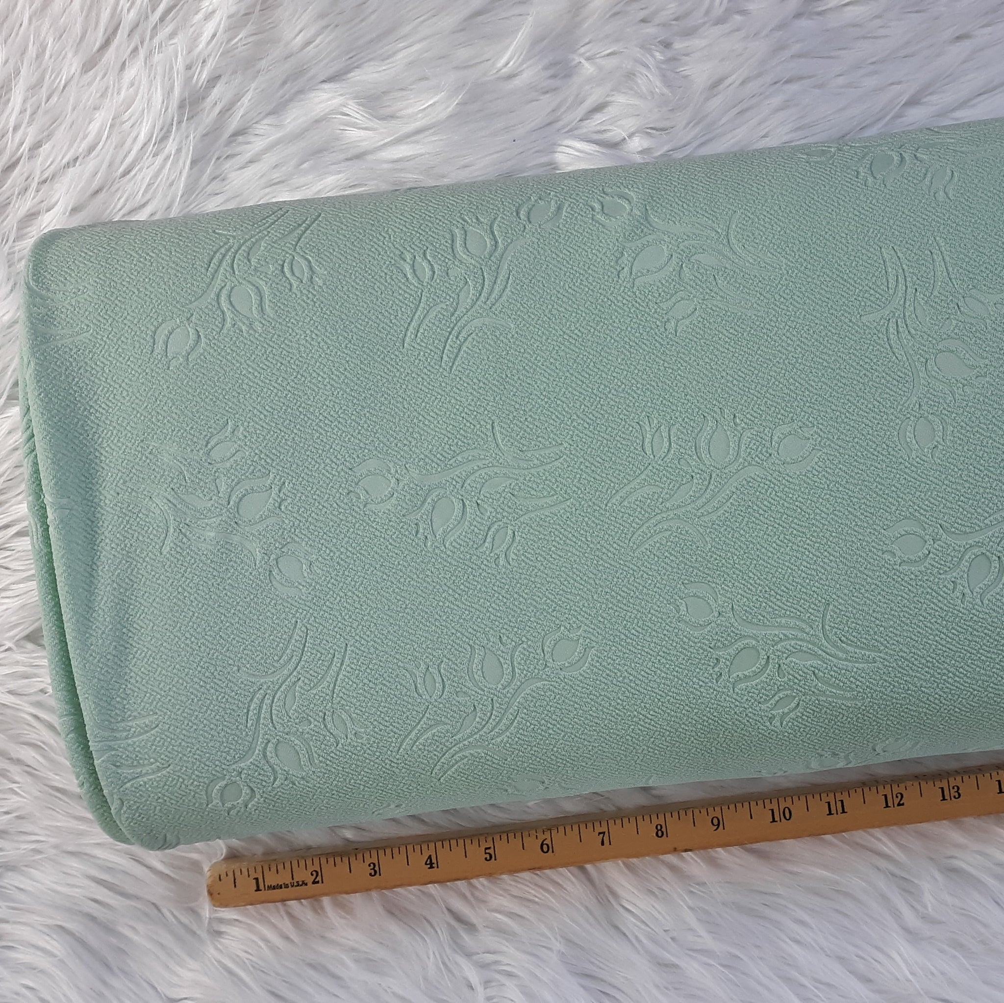 Mint Embossed Rosebud Liverpool Knit|By the Half Yard|Clearance