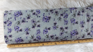 Small Purple Floral Poly Cotton Crinkle | By the Half Yard