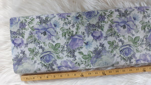 Lavendar Floral Poly Cotton Crinkle | By the Half Yard