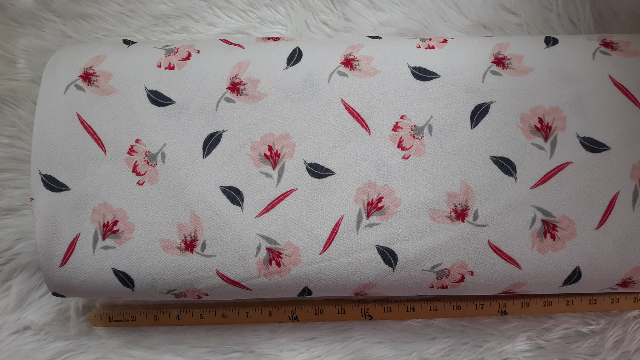 Blush Floral Feathers Liverpool|By the Half Yard