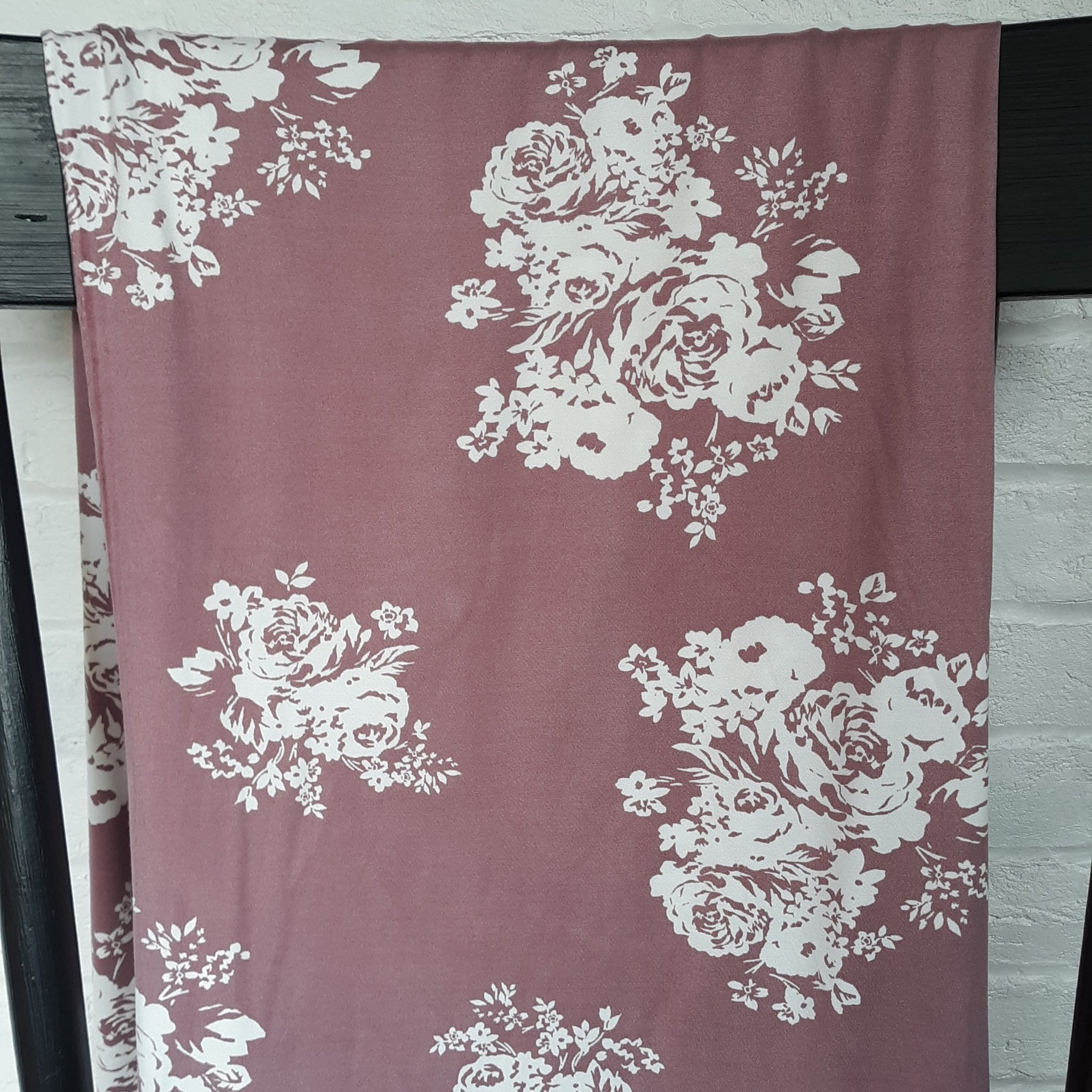 Double Brushed Poly Mauve Floral|By the Half Yard