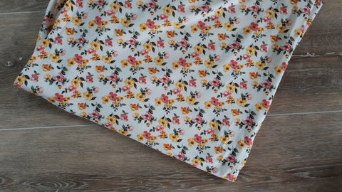Double Brushed Poly Mini Mustard Floral| By the Half Yard
