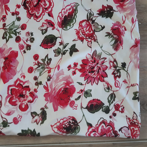 Double Brushed Poly Pink Floral| By the Half Yard|Clearance