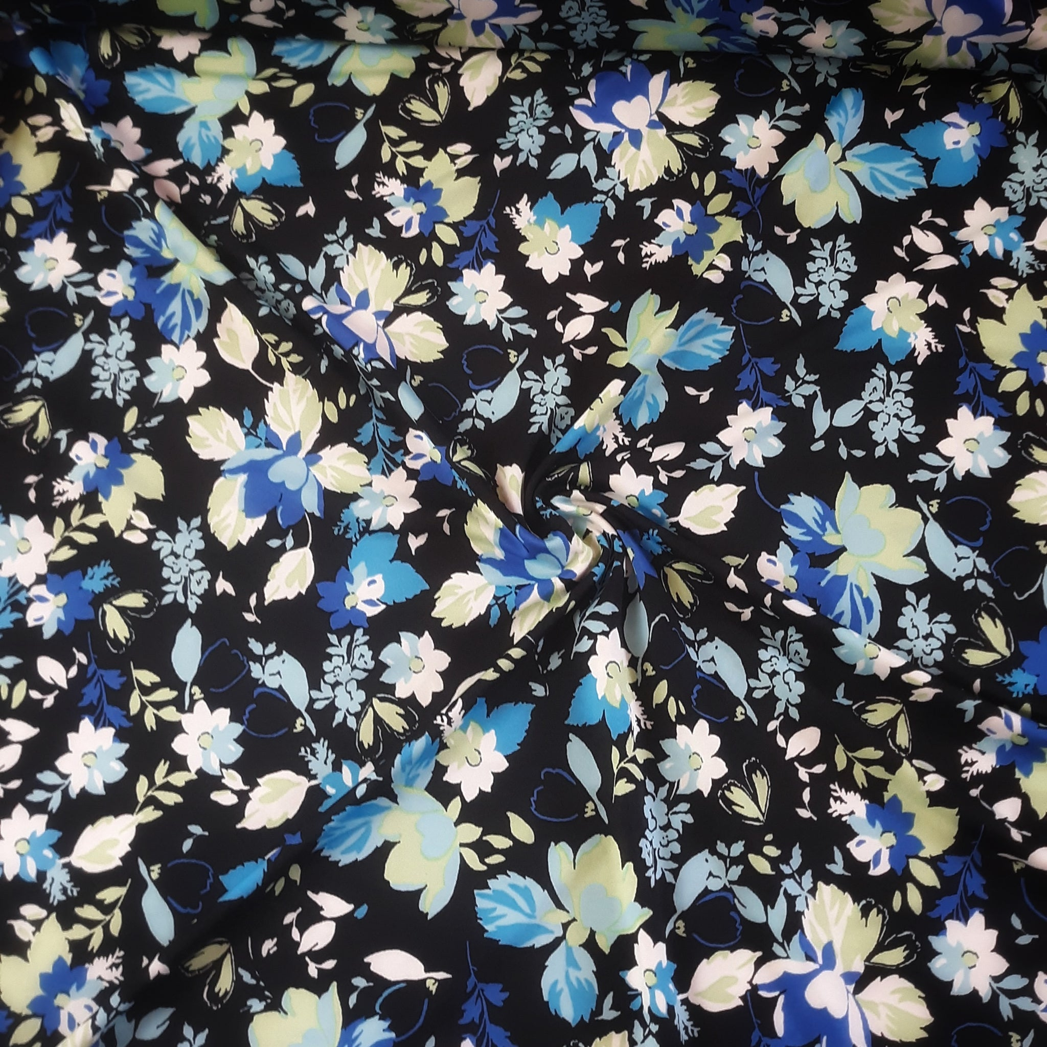DTY Blue Floral on Black| By the Half Yard|