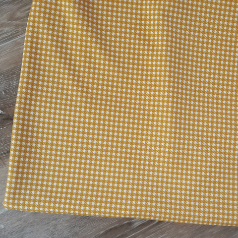 Mustard Gingham Crepe Knit|By the Half Yard