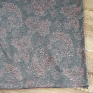 French Terry Grey Paisley| By the Half Yard