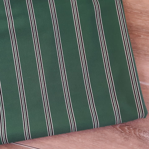 Emerald Green Multi-Stripe Crepe Knit|By the Half Yard