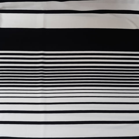 Black & Ivory Multi-Stripe Crepe Knit|By the Half Yard
