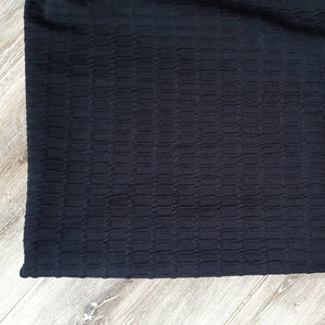 Solid Black Embossed Squares  Knit|By the Half Yard