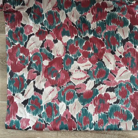 Emerald Green & Burgundy Watercolor Floral DTY Polyester Knit|By the Half Yard