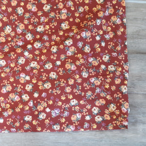 Double Brushed Poly Rust Floral Mini Print |By the Half Yard| Fall Collection