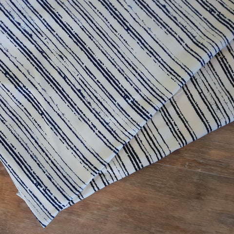 Navy or Black Mini Vertical Stripes Double Brushed Poly |By the Half Yard