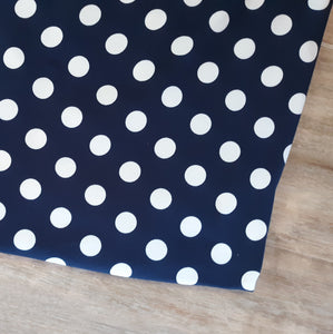 Navy Dots Double Brushed Poly|By the Half Yard