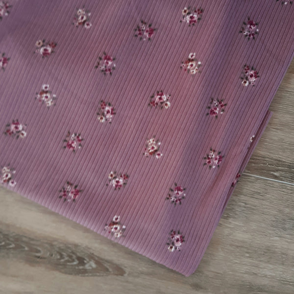 Mauve Mini Print Yummy Rib Knit|By the Half Yard