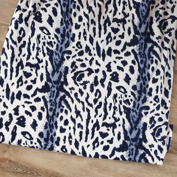 Animal Print in Navy Double Brushed Poly|By the Half Yard