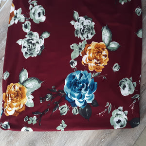 Burgundy Floral Double Brushed Poly|By the Half Yard