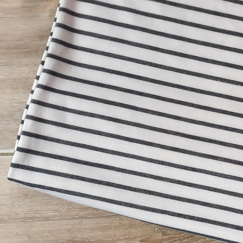 Grey Stripes French Terry | By the Half Yard