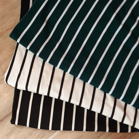 Double Brushed Poly Stripes|By the Half Yard