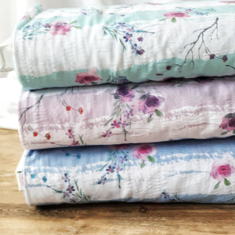 Stripe Floral Poly Cotton Crinkle | By the Half Yard