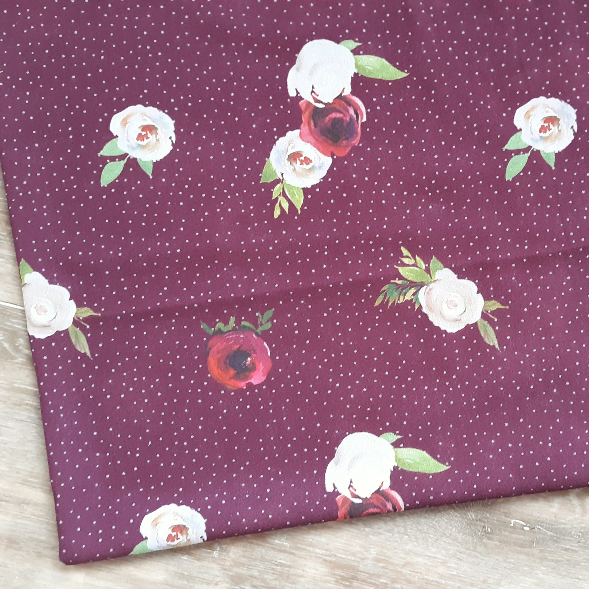 Burgundy Watercolor Floral with mini dots Bubble Crepe|By the Half Yard