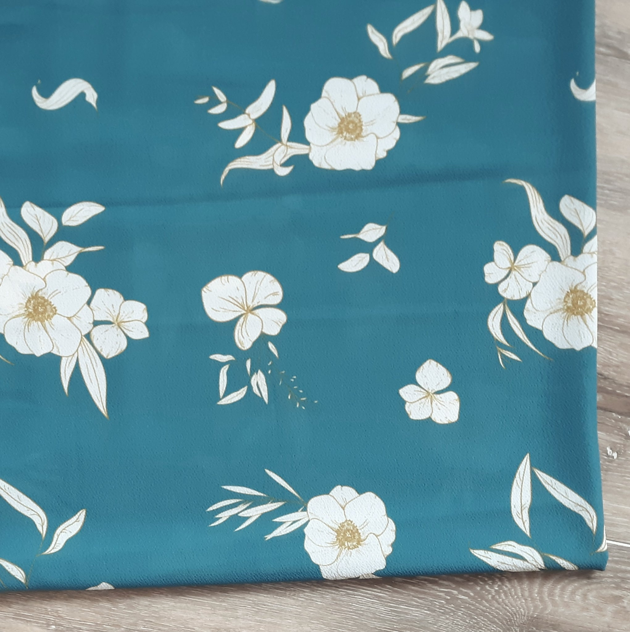 Spruce Teal with Floral Bubble Crepe|By the Half Yard