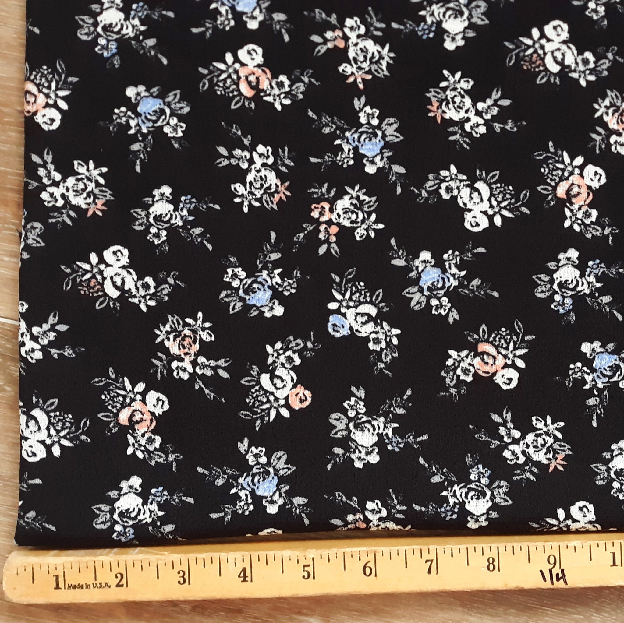Black with Mini Print Floral Polyester| By the Half Yard