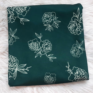Pine Stencil Floral Bubble Crepe|By the Half Yard