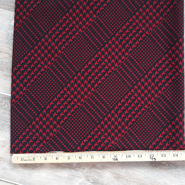 Red Diagonal Plaid Liverpool Knit|By the Half Yard