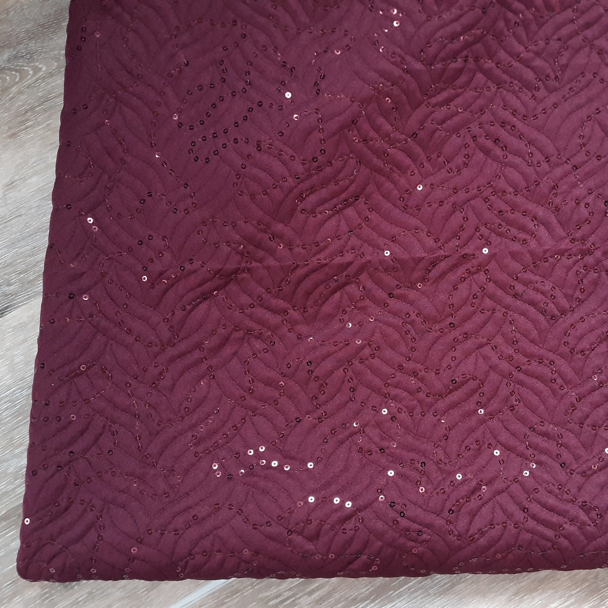 Burgundy With Sequins Knit|By the Half Yard|Solids