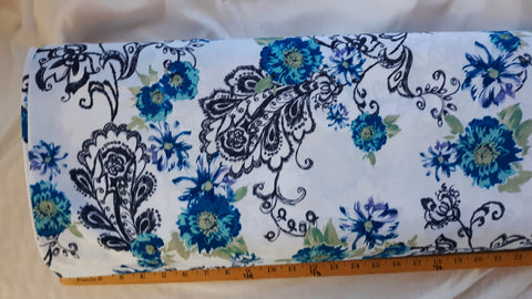 Teal Floral & Black Paisley Polyester| By the Half Yard