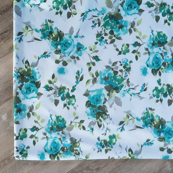 DTY Aqua & Teal Floral on Ivory  | By the Half Yard