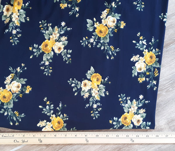 DTY Navy with Mustard Floral  | By the Half Yard