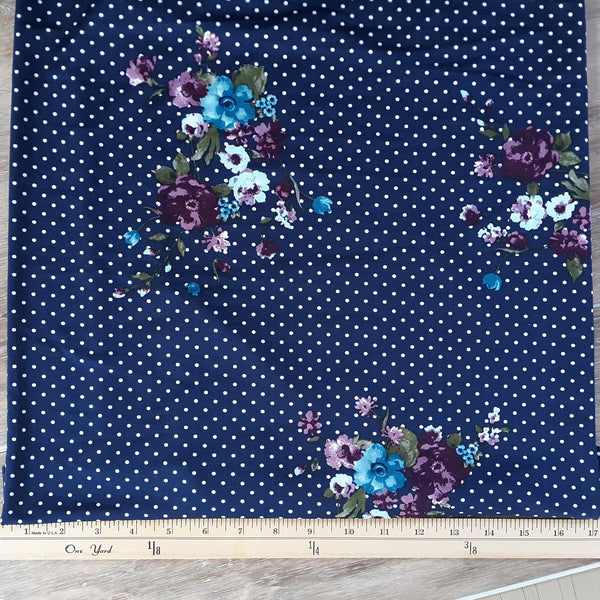DTY Navy Dots with Plum Floral | By the Half Yard