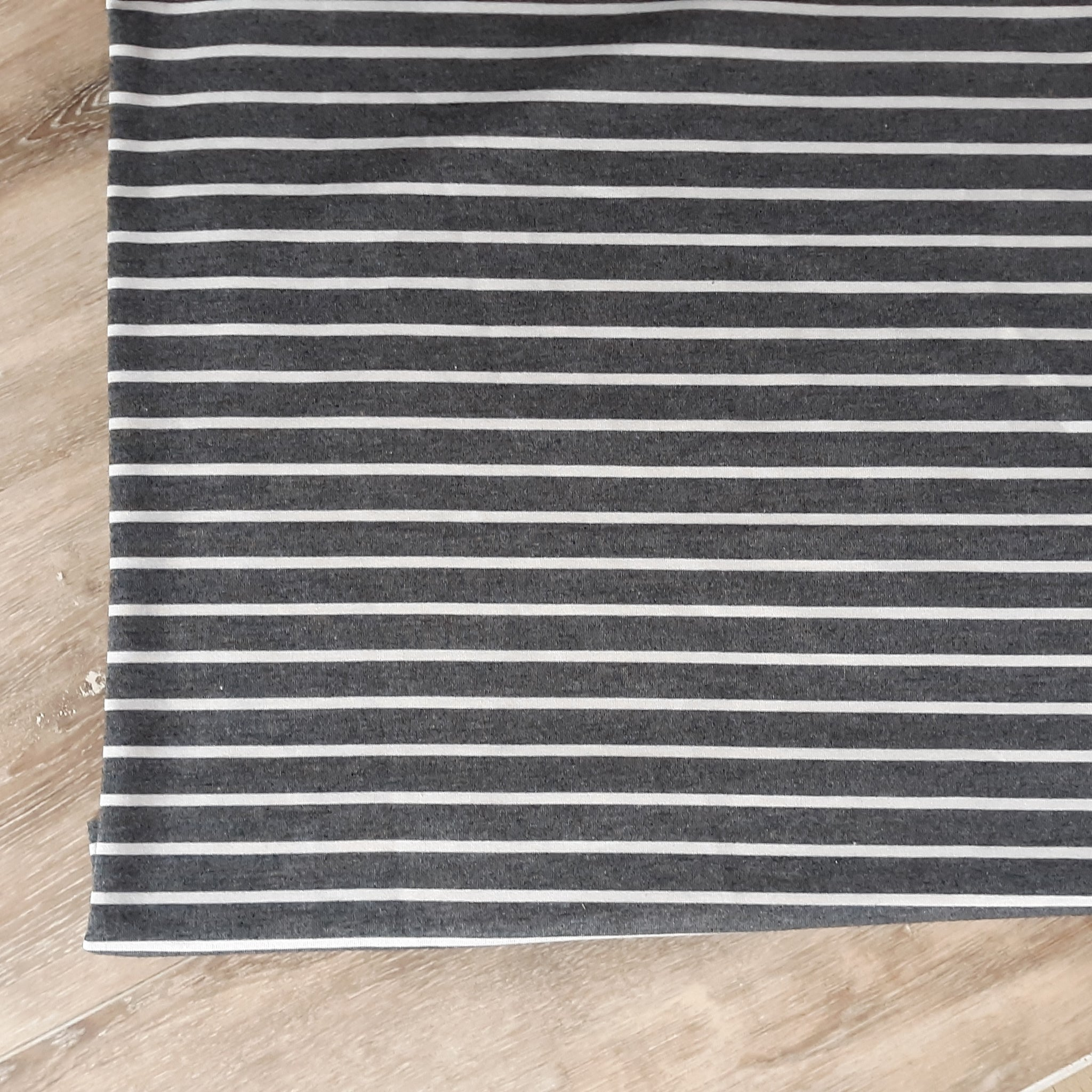 French Terry Charcoal with Ivory Stripes| By the Half Yard
