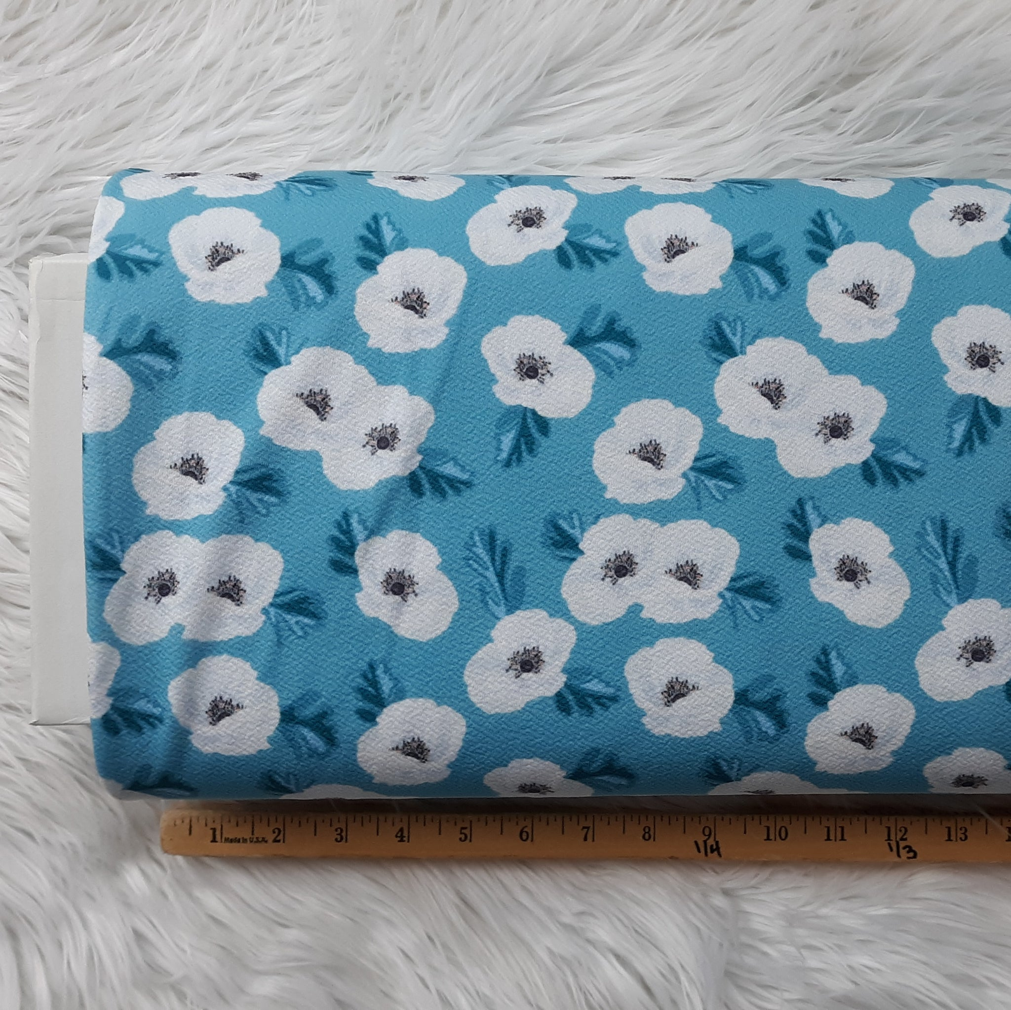 Cotton Ball Floral on Aqua Liverpool|By the Half Yard