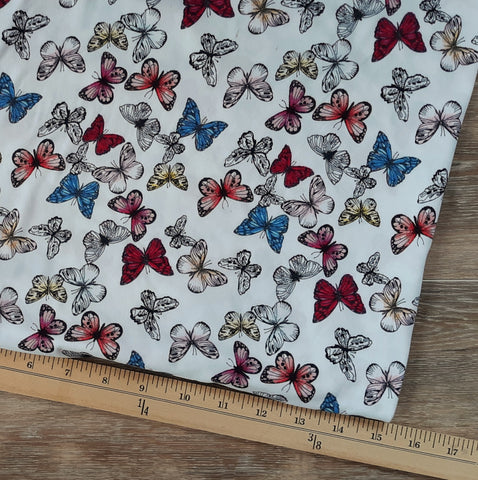 Small Butterflies Double Brushed Poly|By the Half Yard