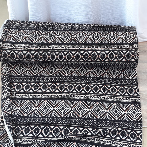 Black & Mocha Boho Aztec Liverpool Knit|By the Half Yard