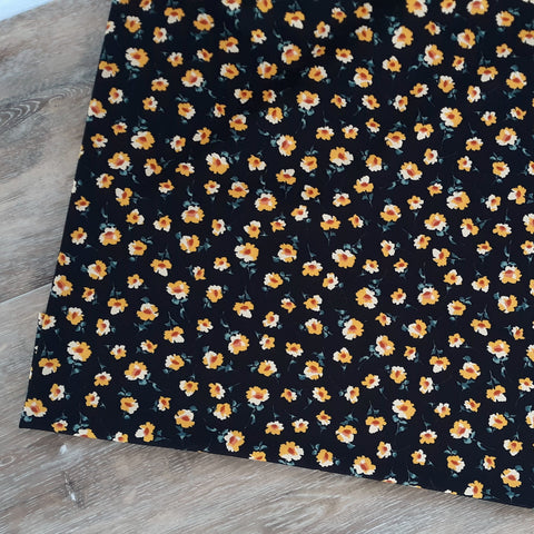 DTY Black with Mustard Floral  | By the Half Yard