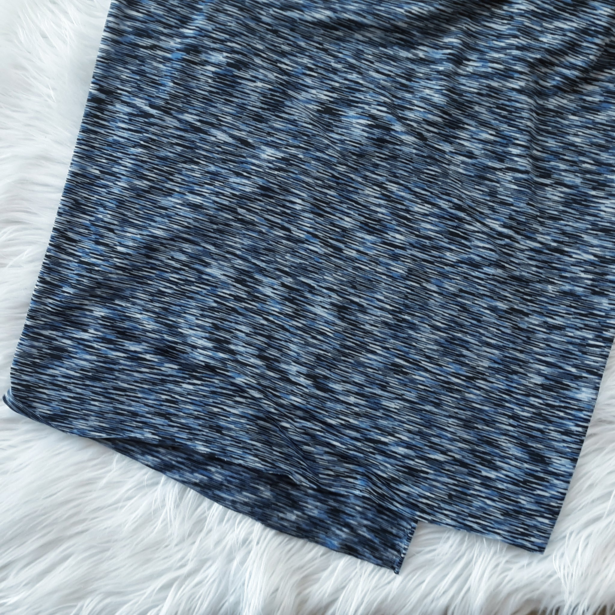 Heathered Blue & Black Knit| By the Half Yard