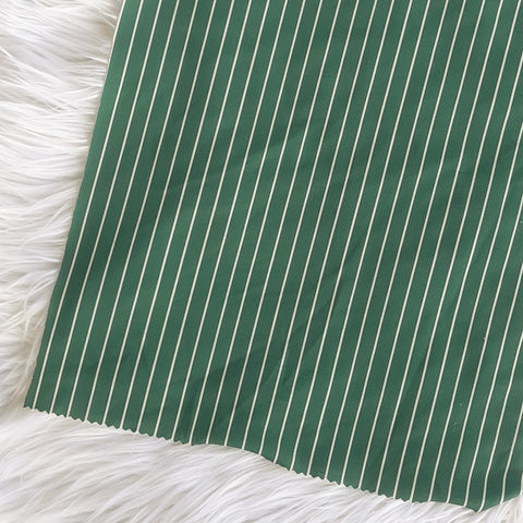 DTY Green w/ Ivory Mini Stripe| By the Half Yard