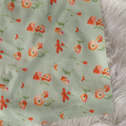 Seafoam with Orange & Peach Floral Crepe Knit|By the Half Yard