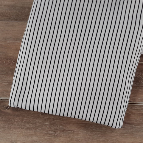 Ivory w/ Black Mini Stripes Double Brushed Poly |By the Half Yard