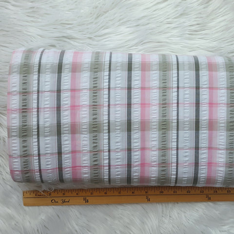 Pink & Grey Seersucker Plaid PolyCotton | By the Half Yard