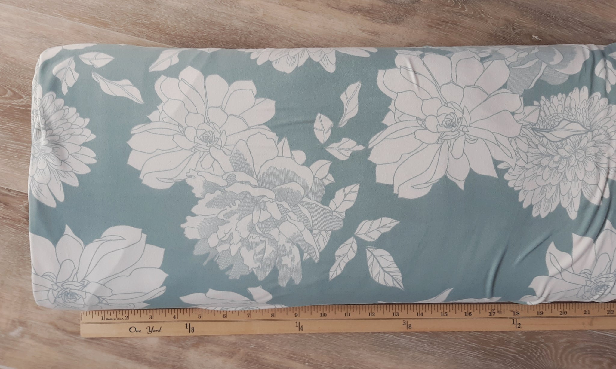 Dusty Blue w/ Ivory Floral Double Brushed Poly | By the Half Yard