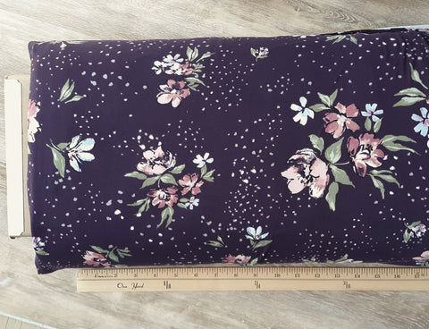 Plum Floral Double Brushed Poly | By the Half Yard