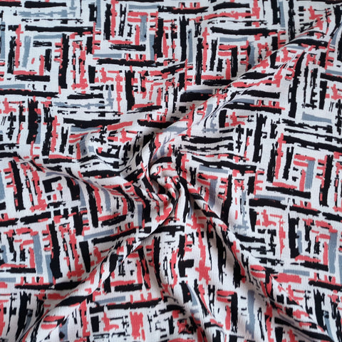 Coral, Grey & Black Geometric Polycotton| By the Half Yard