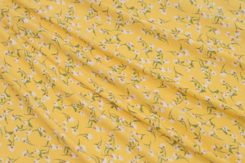 Yellow Mini Print Double Brushed Poly|By the Half Yard
