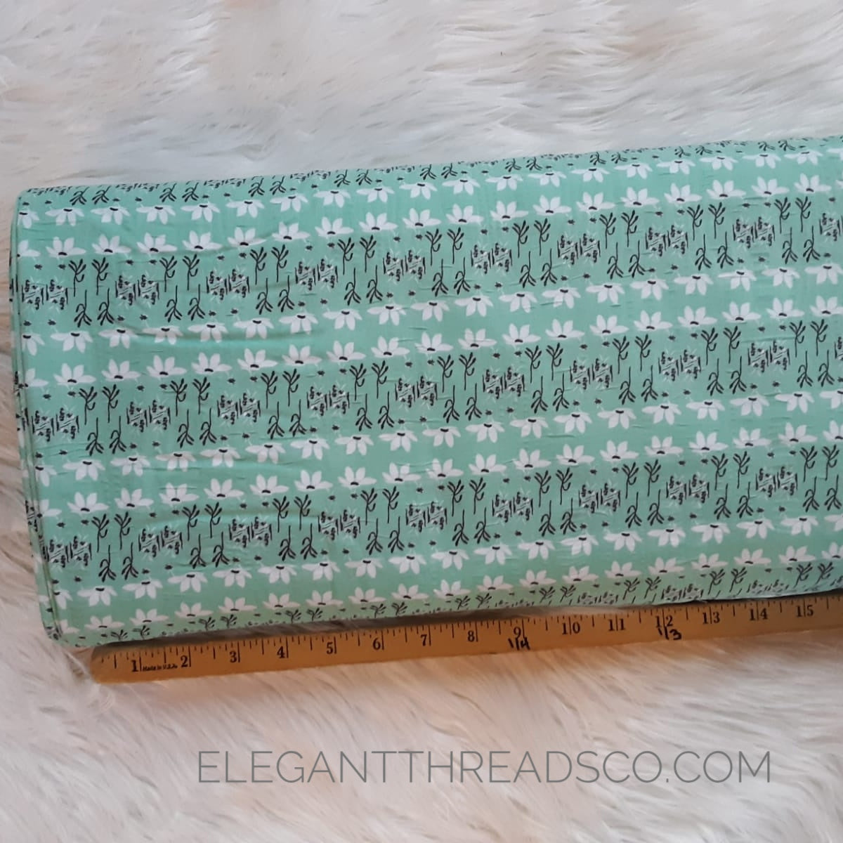 Mint Floral Poly Cotton Crinkle | By the Half Yard