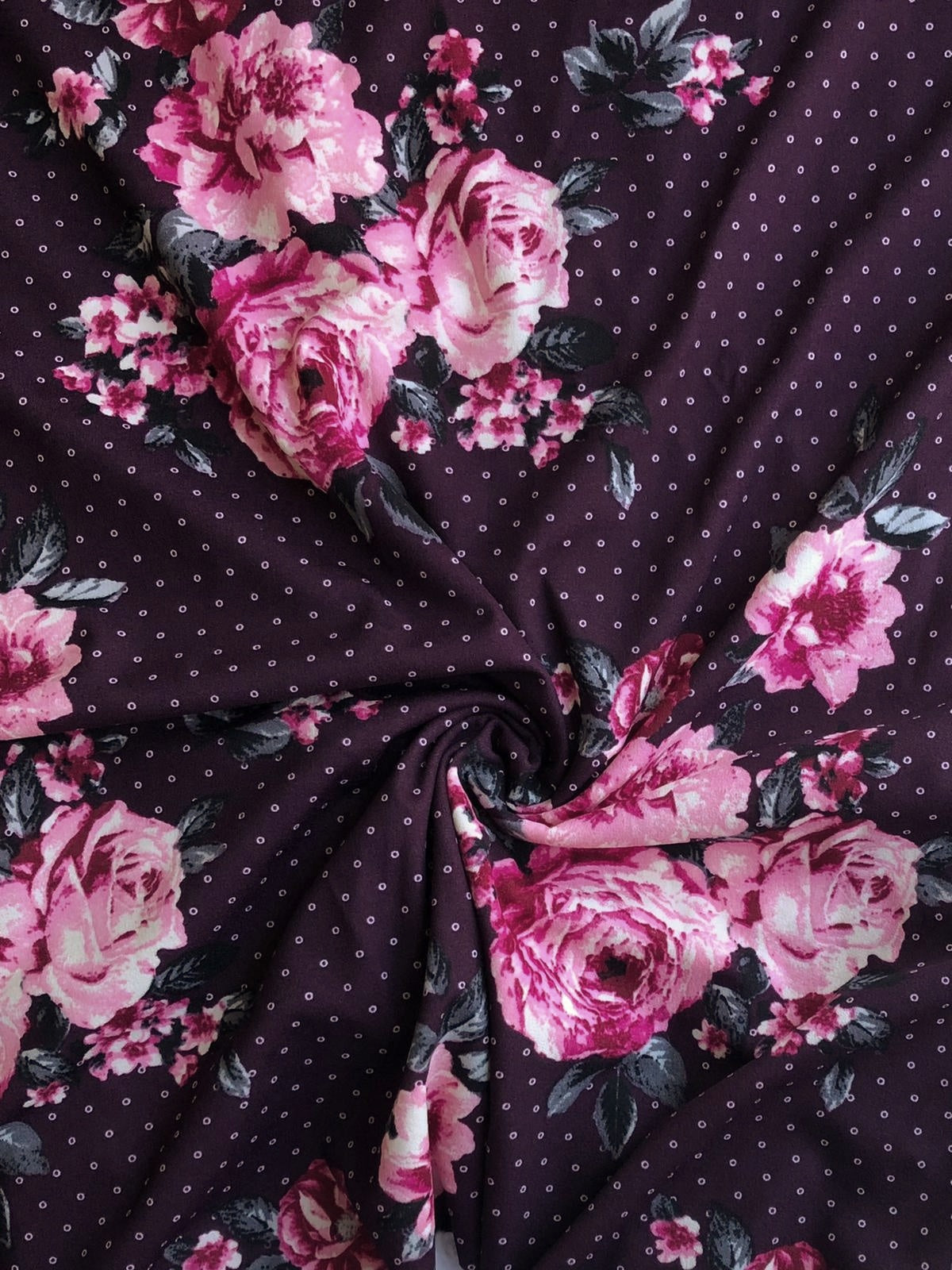 Plum with Pink Floral Techno Crepe Knit|By the Half Yard